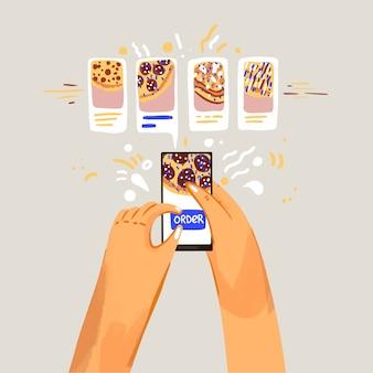Pedir pizza ilustración en línea. elegir pizzas y pedirlo en la aplicación en línea y teléfono inteligente.