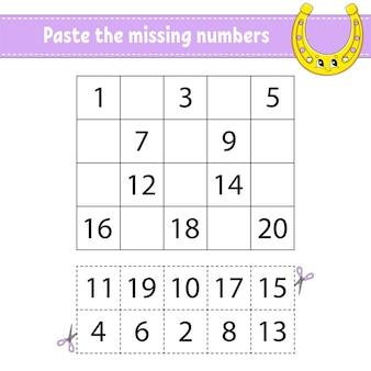 Pega los números que faltan del 1 al 20. juego para niños. práctica de escritura a mano.