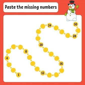 Pega los números que faltan. práctica de escritura a mano. aprendizaje de números para niños. hoja de trabajo de desarrollo educativo.