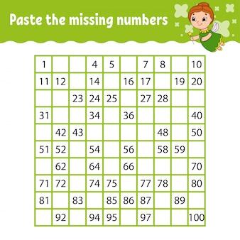 Pega los números que faltan. práctica de escritura a mano. aprendizaje de números para niños.