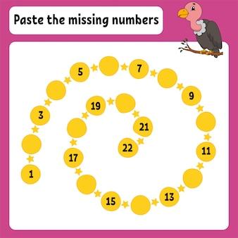 Pega los números que faltan.