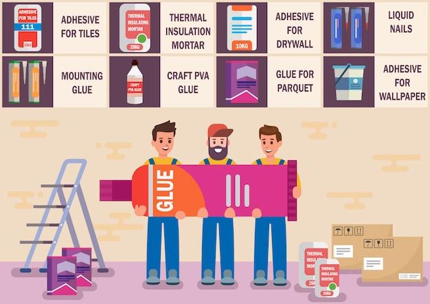 Pegamentos y materiales adhesivos planos vector banner