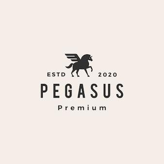 Pegasus unicornio ala hipster vintage logo icono ilustración