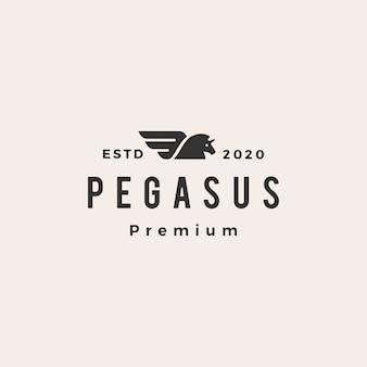Pegasus unicornio caballo hipster vintage logo icono ilustración