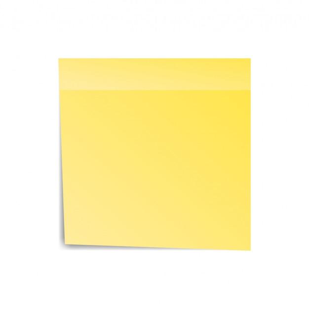 Pegatina amarilla en papel, nota por aviso. página pegajosa. espacio en blanco con la sombra aislada en el fondo blanco. ilustración vectorial