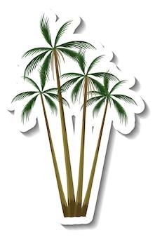 Pegatina árbol de coco tropical sobre fondo blanco.