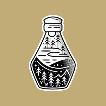 Pegatina aventura, schene dentro de la botella.