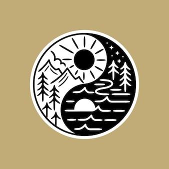 Pegatina en blanco y negro, con mezcla de schene dentro de la forma yin yang.