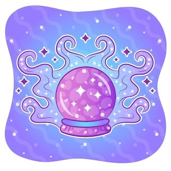 Pegatina bola de cristal para colorear de halloween