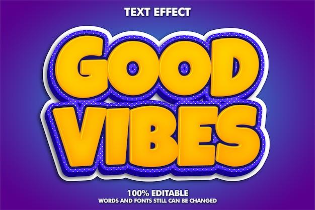 Pegatina de buenas vibraciones, efecto de texto retro moderno