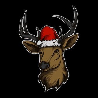 Pegatina y camiseta mascota logotipo de personaje ciervo con gorro de navidad