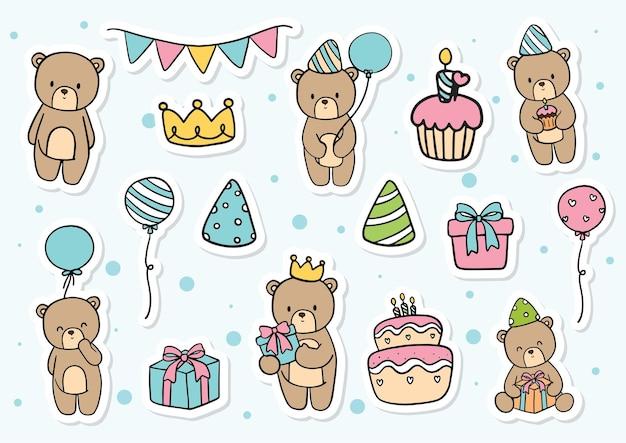 Pegatina de cumpleaños de osito de peluche
