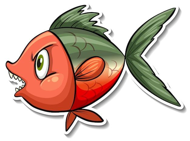 Pegatina de dibujos animados de animales marinos de peces enojados