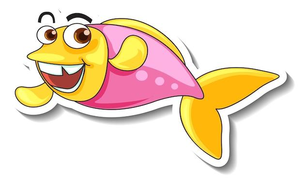 Pegatina de dibujos animados de animales marinos con peces lindos