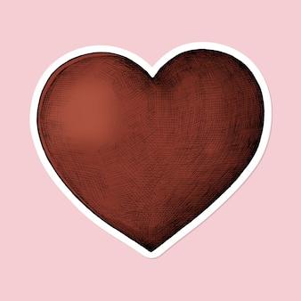 Pegatina de dibujos animados de corazón rojo