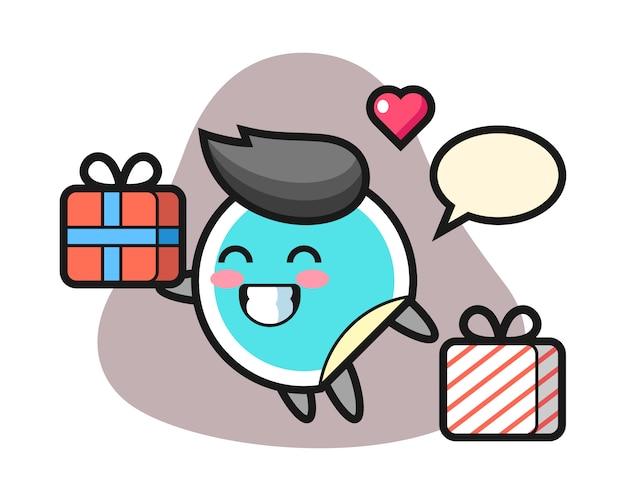 Pegatina de dibujos animados dando el regalo