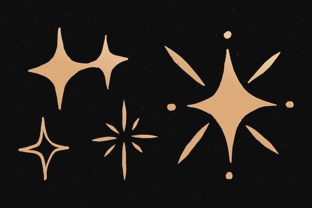 Pegatina de doodle de espacio de vector de oro de estrellas brillantes