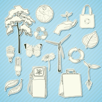 Pegatina ecología y medio ambiente elementos blanco.