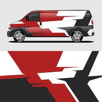 Pegatina de envoltura y diseño de una furgoneta roja. diseño de calcomanía.
