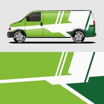 Pegatina de envoltura de diseño de la furgoneta verde y diseño de etiqueta