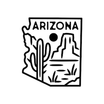 Pegatina y etiqueta de arizona, insignia monoline