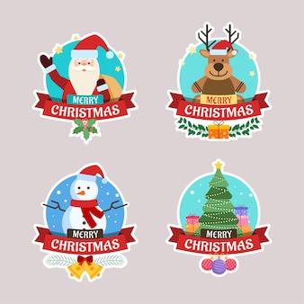 Pegatina de felicitación navideña con santa claus, ciervo, árbol de navidad y muñeco de nieve