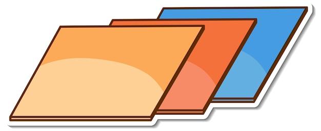 Pegatina en forma de paralelogramo sobre fondo blanco.