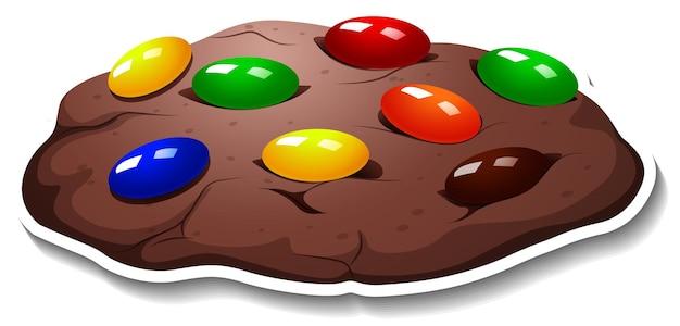 Pegatina de galletas con chispas de chocolate sobre fondo blanco.