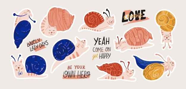 Pegatina gato caracoles