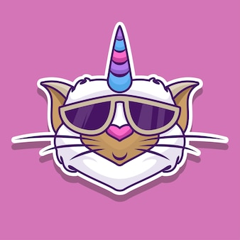 Pegatina gato unicornio con gafas