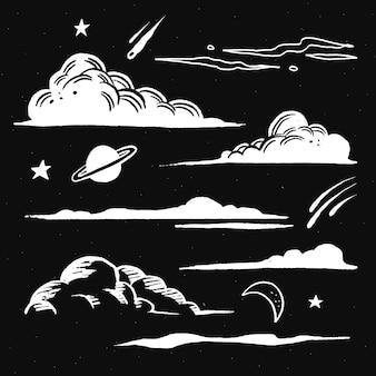 Pegatina ilustración de doodle de nubes blancas