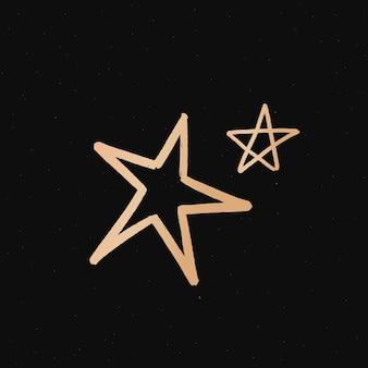 Pegatina infantil con doodle de estrellas doradas y galaxias