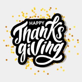 Pegatina letras de feliz día de acción de gracias