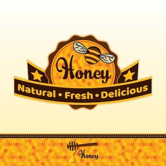 Pegatina de miel y abeja
