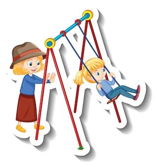 Pegatina niños jugando columpio en el patio de recreo