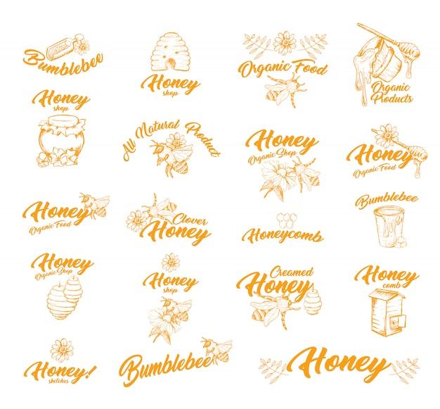 Pegatina o etiquetas con abejas para el envase de miel.