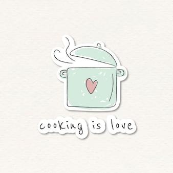 Pegatina olla de cocina doodle