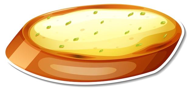 Pegatina de pan de ajo sobre fondo blanco.