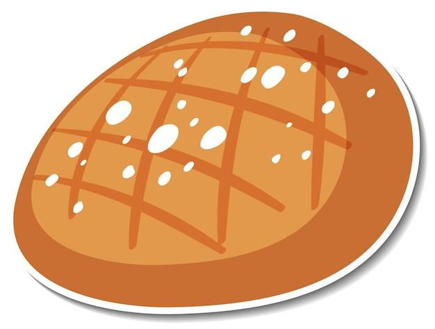 Pegatina de pan redondo de centeno sobre fondo blanco.