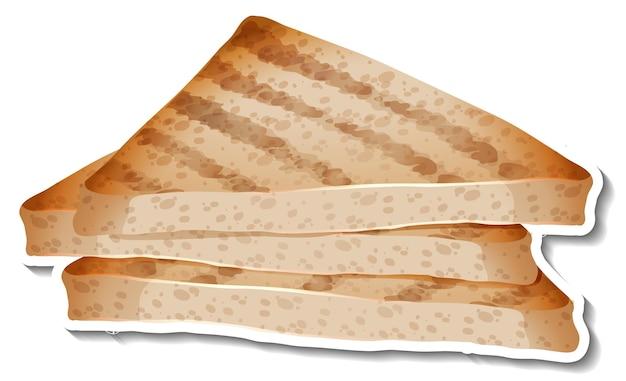 Pegatina de pan de trigo en rodajas sobre fondo blanco.