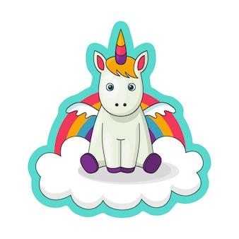 Pegatina con un pequeño bebé unicornio con alas.