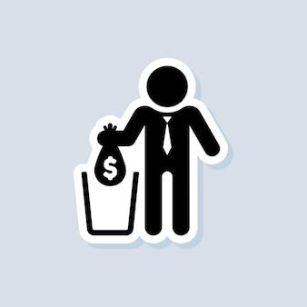 Pegatina de pérdidas financieras. bolsa que cae con el signo de dólar en la basura. grandes gastos, deducción de dinero, costos de mantenimiento. no malgastes el dinero. vector sobre fondo aislado. eps 10.
