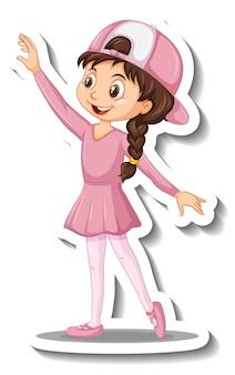 Pegatina de personaje de dibujos animados con una chica bailando ballet