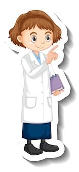 Pegatina de personaje de dibujos animados de una chica en bata de ciencia