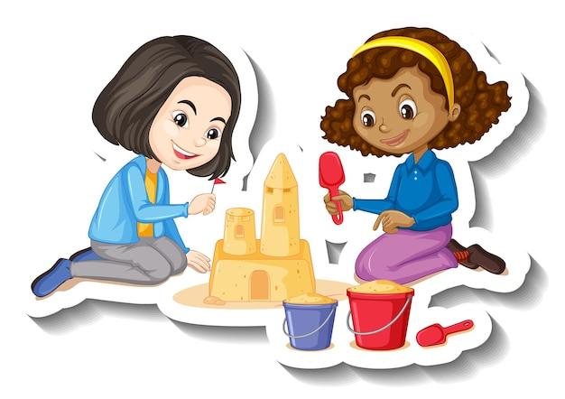 Pegatina de personaje de dibujos animados de dos niñas construyendo castillo de arena