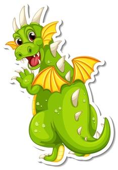 Pegatina personaje de dibujos animados del dragón verde