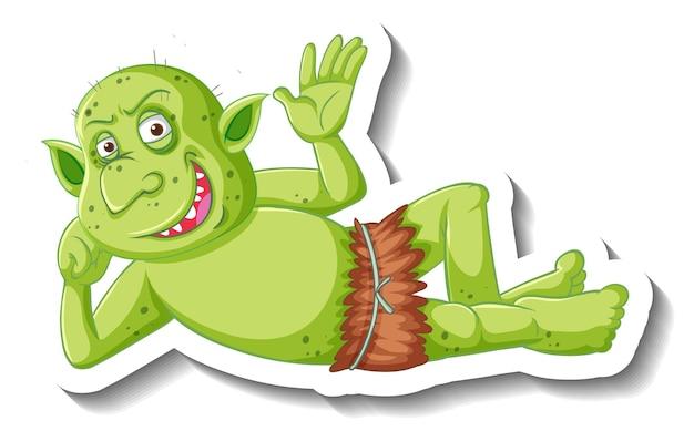 Pegatina de personaje de dibujos animados duende verde o troll