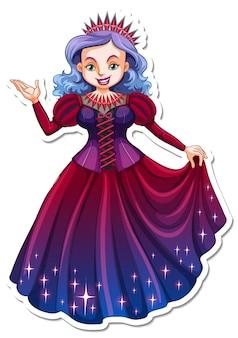 Pegatina personaje de dibujos animados hermosa reina