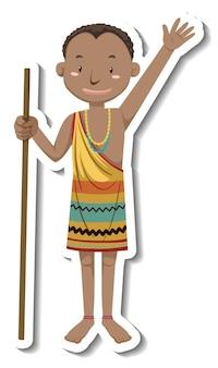 Pegatina personaje de dibujos animados de hombre tribal africano