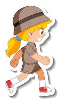 Pegatina personaje de dibujos animados little girl scout